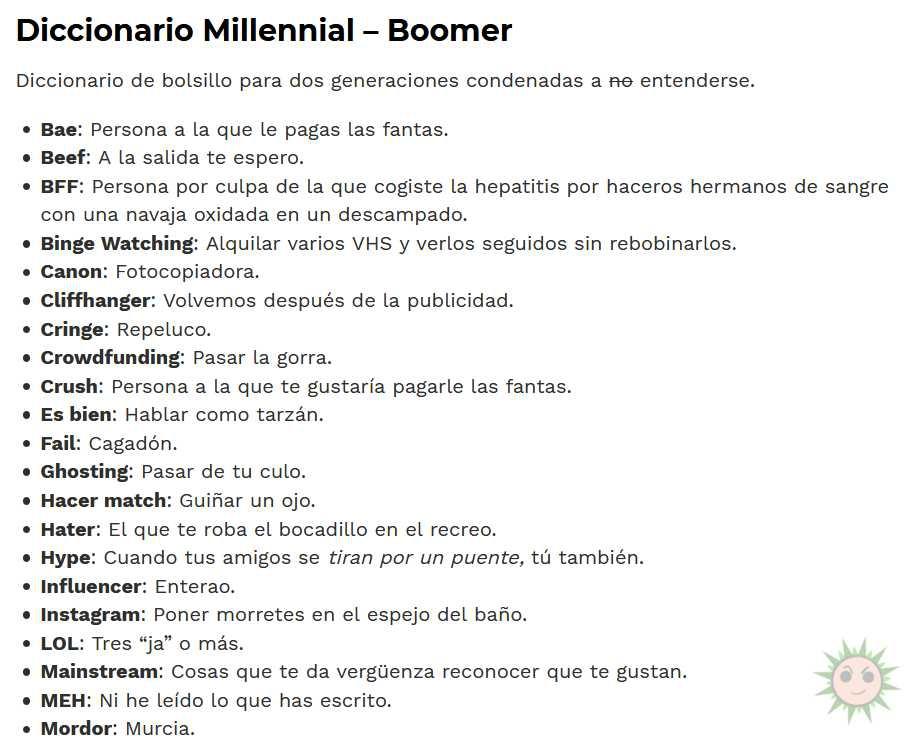 Diccionario Millennial-Boomer